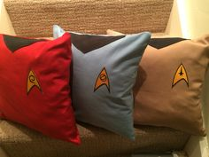 Original series Star Trek cushions. (Embroidered Insignias bought from eBay)