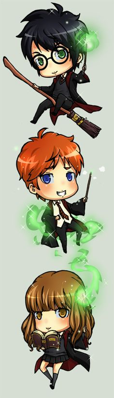 Harry, Ron & Hermoine Harry Potter Chibi by ichan-desu.deviantart
