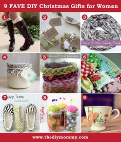 A Handmade Christmas: DIY Gift Ideas for Women by The DIY Mommy. Boot socks, soap, infinity scarf, candle, bracelets, heat bags, slippers, pin cushion jars and tea bags.