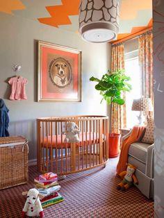 That orange chevron ceiling is truly something else! Such a fun gender-neutral nursery.