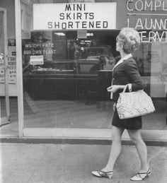Mini skirts shortened, 1960s