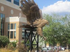 Louisiana Monroe Warhawks - outdoor Warhawk statue across from campus library
