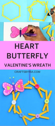 Paper heart butterfly craft on popsicle stick wreath Crafts By Ria Paper heart butterfly craft on popsicle stick wreath Crafts By Ria Crafts By Ria craftsbyria Paper crafts for kids nbsp hellip plaid Valentine wreath Valentine for kids Valentine's Day Crafts For Kids, Valentine Crafts For Kids, Craft Activities For Kids, Preschool Crafts, Crafts To Make, Valentine Wreath, Learning Activities, Valentines, Popsicle Stick Crafts For Adults