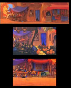 Aladdin background paintings by Ric Sluiter.