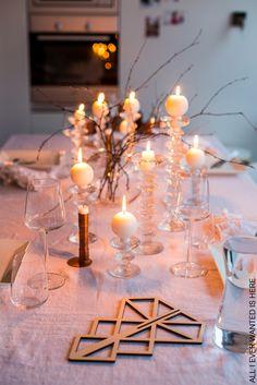 Iittala Festivo candle holders, ball candles, Be&Liv christmas tree 3d Christmas Tree, Tablescapes, Candle Holders, Candles, Table Decorations, Glass, Kitchen, Home Decor, Fashion