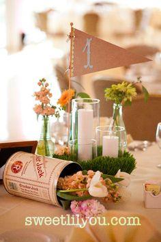 baseball wedding card box | baseball wedding flowers pennant cracker jack centerpiece grass table ...