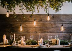Stylish Winter Wedding Inspiration With Firs Foliage & A Muted Colour Palette Styling by Blue Wren Barn Images by John Barwood Photography Winter Wedding Receptions, Wedding Table, Winter Weddings, Industrial Ceiling Lights, Drop Lights, Edison Lamp, Warehouse Wedding, Winter Wedding Inspiration, Light Fittings