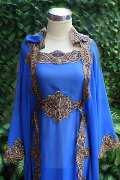 Cute Blue electric Moroccan Caftan Hoodie Sheer Chiffon Fancy FULL Gold Embroidery Abaya Dubai Maxi Dress farasha Hijab Style Jalabiya. $66.66, via Etsy.