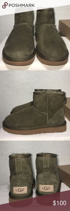 Women's UGG Classic Mini II Color in Olive. Water resistant 💧 Brand new, never worn. Feel free to make me an offer. UGG Shoes Ankle Boots & Booties