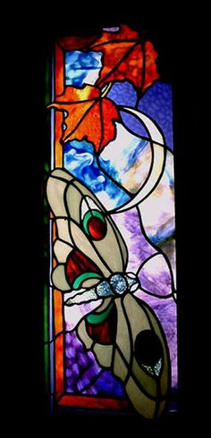 autumn moth stained glass panel by cheryl kumiski