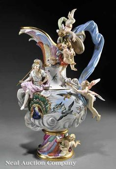 """Meissen Polychrome and Gilt-Decorated Porcelain """"Elements"""" Ewer, 19th c., """"Air"""","""
