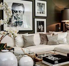 Cozy Tv - movie room- dark grey walls with my photography