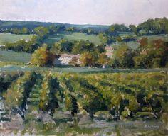 Pascal GIROUD / Peinture : Vignes (Hautes - Provence) - Huile sur Panneau - 27 x 22 cm (3F)