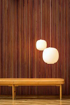 """scandinaviancollectors: """"VILHELM LAURITZEN, Radiohuset, Copenhagen, Denmark ,1936-1940. Radiohus pendant light (model VL45, manufactured by Louis Poulsen) and a custom-made bench, also designed by Lauritzen, early 1940s. / Flinders """""""