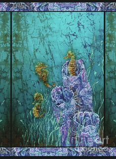 Seahorses - Horsin Around - Bordered by Sue Duda Fish Ocean, Ocean Art, Turquoise Art, Batik Art, Marine Environment, Seahorses, Acrylic Canvas, Art Music, Underwater