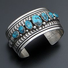 Darryl Becenti (Navajo) - Seven Stone Morenci Turquoise Lined & Stamped Sterling Silver Cuff Bracelet #41421 $750.00