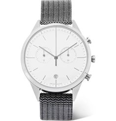 Uniform Wares Chronograph Polished Steel Watch In White Uniform Wares, Mens Designer Watches, Stainless Steel Case, Fashion Watches, Chronograph, Watches For Men, Product Launch, Man Shop, Mens Fashion