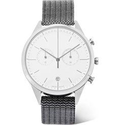 Uniform Wares Chronograph Polished Steel Watch In White Uniform Wares, Mens Designer Watches, Stainless Steel Case, Fashion Watches, Chronograph, Watches For Men, Man Shop, Mens Fashion, Jewels