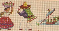 """Meire, aqui estão mais alguns gráficos """"mexicaninhos'. Espero que sirvam para te ajudar a passar o tempo aí no Panamá !!! Assim que puder co... Cross Stitch Bookmarks, Mini Cross Stitch, Cross Stitch Charts, Cross Stitch Patterns, Vintage Cross Stitches, Vintage Embroidery, Cross Stitching, Cross Stitch Embroidery, Stitch Doll"""