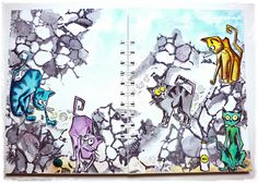 Crazy Cats Art Journal - Simon Monday Challenge