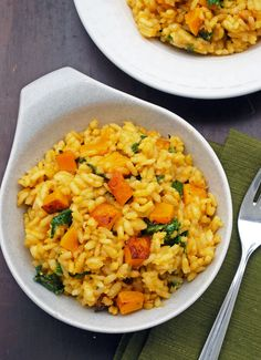 Butternut Squash and Kale risotto.. Try using Freekeh instead of Arraboria Rice for a healthier alternative