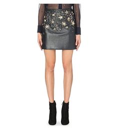 Constellation leather mini skirt http://bit.ly/1kjiRou
