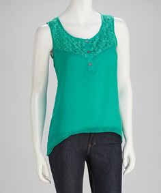 Take a look at this Green Lace Tank by Fashion Apparel Industries, Inc. on #zulily today!