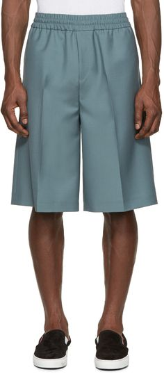 Acne Studios Green Wool Ryder Shorts