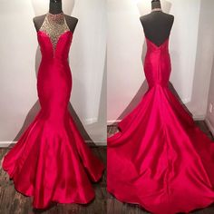 New Arrival Prom Dress,Modest Prom Dress,beaded halter long satin fuchsia mermaid evening dress,long prom dresses 2017 with open back