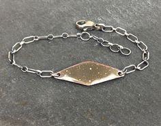 Charcoal Grey Enamel Sterling Silver Chain Bracelet | Esma Jewelry