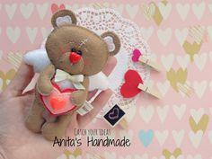 Filcowy miś - prezent na Walentynki #filc #felt #feltro #valentinesday #love #gift #walentynki #mis