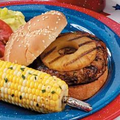 Teriyaki Turkey Burgers with Pineapple  This happens about 2 times a month in our house. We use sandwich thins for bread to cut out calories