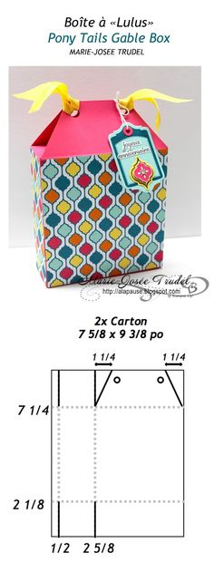 """A La Pause: Patron Boîte à """"Lulus"""" / Pony Tails Gable Box template, Marie-Josée… Paper Box Template, Box Templates, Gable Boxes, Cute Box, Paper Crafts Origami, Diy Gift Box, Stampin Up, Pop Up Cards, Craft Tutorials"""