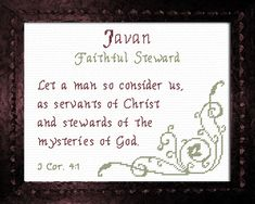 Javan - Name Blessings Personalized Cross Stitch Design from Joyful Expressions Cross Stitch Designs, Cross Stitch Patterns, Names With Meaning, Pattern Names, Joyful, Gifts For Family, Custom Framing, Blessings, Bible Verses