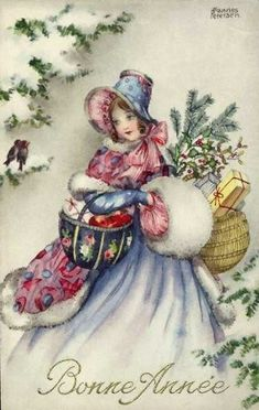 Vintage Christmas Images, Victorian Christmas, Retro Christmas, Vintage Holiday, Christmas Pictures, Christmas Art, Christmas Shopping, Vintage Images, Vintage Greeting Cards