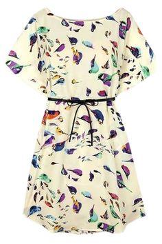 バットウィングスリーブ鳥プリントクリームのドレス