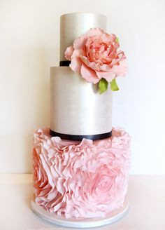 Pink ruffles silver lustre | Sweet Disposition Cakes