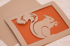 Squirrel Card of Cut Paper in Recycled Kraft by starflycreations