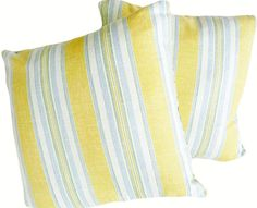 Yellow Blue White Pillows, Striped Throw Pillow, 18, 20, 22 inch, Decorative Pillows, Cushion Covers, Country, Cottage, Spring Home Decor