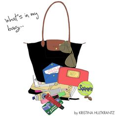 Longchamp ... what s inside my Black Le Pliage Makeup Illustration, Love  Illustration, 8354ed5b54