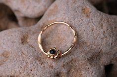 SEPTUM RING / Ear /Cartilage 16 Gauge 14K Gold filled with 2mm Black Onyx. Handcrafted