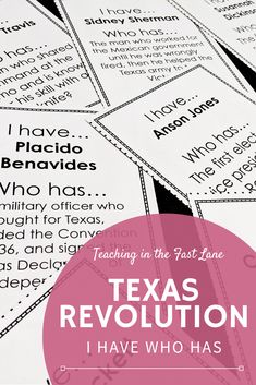 Are you looking for a way to have fun while reviewing the Texas Revolution with your 4th grade Texas History students? Try this Texas Revolution I Have Who Has Game! This wrap around style review get the whole class involved in fast paced review of facts that are sure to stick with your students long after the unit is over. Click the photo above for more details! #TeachingInTheFastLane #TexasHistory History Interactive Notebook, Interactive Notebooks, Back To School Activities, School Ideas, Texas Revolution, Texas Teacher, 5th Grade Social Studies, Back To School Organization, Review Games