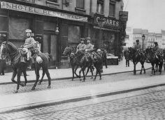 German Hussar cavalry patrol in Antwerp Belgium 1914 World War I 8x10 Photo