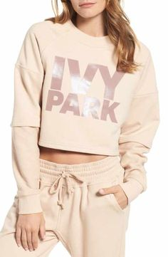 14d97c05ad1c0 IVY PARK® Washed Jersey Cropped Logo Sweatshirt Sweatshirt Outfit