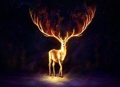 Firewalker Signed Art Print Fantasy Deer Painting by JoJoesArt