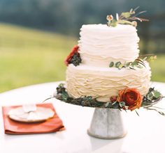 Simple is stunning. We love this wedding cake!  #EdnaValleyVineyard #SpecialEvents #Weddings