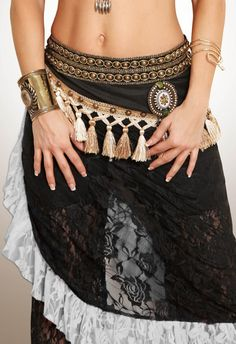 Moondance Belly Dance Black White Tribal Lace Wrap Belt Fusion Ruffle