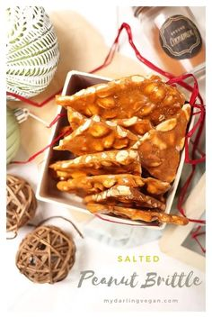 Make your own classic vegan peanut brittle! It's sweet, salty, crunchy, and filled with caramel flavor for a wonderful holiday DIY gift or sweet treat to have around the Christmas tree. Vegan Sweets, Vegan Snacks, Vegan Desserts, Delicious Desserts, Vegan Recipes, Vegan Ideas, Vegan Christmas, Christmas Tree, Xmas