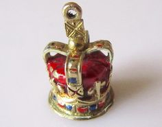 RESERVED Gold Enamel Royal Coronation Crown by TrueVintageCharms