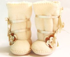 Cafe Latte Baby Boots Ugg Style Fleece Baby Booties by funkyshapes, $32.95